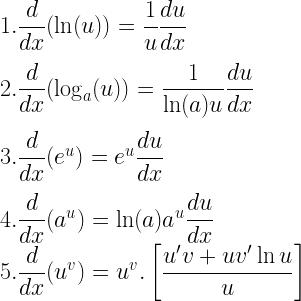 1. \dfrac{d}{dx}(\ln(u)) = \dfrac{1}{u}\dfrac{du}{dx} \\[3mm] 2. \dfrac{d}{dx}(\log_a(u)) = \dfrac{1}{\ln(a) u} \dfrac{du}{dx} \\[3mm] 3. \dfrac{d}{dx}(e^u) = e^u \dfrac{du}{dx} \\[3mm] 4. \dfrac{d}{dx}(a^u) = \ln(a)a^u \dfrac{du}{dx} \\ 5. \dfrac{d}{dx} (u^v) = u^v . \left[ \dfrac{u'v + uv' \ln u}{u}\right]