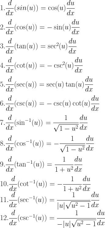 1. \dfrac{d}{dx}(sin(u)) = \cos(u) \dfrac{du}{dx} \\[3mm] 2. \dfrac{d}{dx}(\cos(u)) = -\sin(u) \dfrac{du}{dx} \\[3mm] 3. \dfrac{d}{dx}(\tan(u)) = \sec^2(u) \dfrac{du}{dx} \\[3mm] 4. \dfrac{d}{dx} (\cot(u)) = -\csc^2(u) \dfrac{du}{dx} \\[3mm] 5. \dfrac{d}{dx}(\sec(u)) = \sec(u) \tan(u) \dfrac{du}{dx} \\[3mm] 6. \dfrac{d}{dx}(\csc(u)) = -\csc(u) \cot(u) \dfrac{du}{dx} \\[3mm] 7. \dfrac{d}{dx}(\sin^{-1}(u)) = \dfrac{1}{\sqrt{1- u^2}} \dfrac{du}{dx} \\[3mm] 8. \dfrac{d}{dx}(\cos^{-1}(u)) = -\dfrac{1}{\sqrt{1- u^2}}\dfrac{du}{dx} \\[3mm] 9. \dfrac{d}{dx} (\tan^{-1}(u)) = \dfrac{1}{1 + u^2} \dfrac{du}{dx} \\[3mm] 10. \dfrac{d}{dx}(\cot^{-1}(u)) = -\dfrac{1}{1 + u^2} \dfrac{du}{dx} \\ 11. \dfrac{d}{dx}(\sec^{-1}(u)) = \dfrac{1}{|u|\sqrt{u^2- 1}}\dfrac{du}{dx} \\ 12. \dfrac{d}{dx}(\csc^{-1}(u)) = \dfrac{1}{-|u|\sqrt{u^2- 1}}\dfrac{du}{dx}