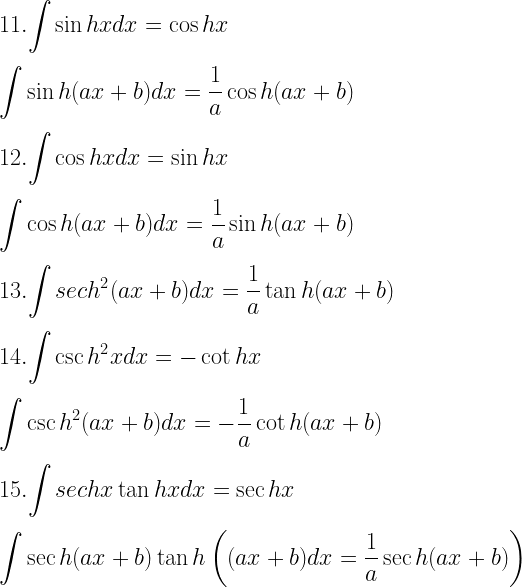 11. \displaystyle{\int \sin hx dx = \cos hx} \\[3mm] \displaystyle{\int \sin h(ax + b) dx = \dfrac{1}{a} \cos h (ax + b)} \\[3mm] 12. \displaystyle{\int \cos hx dx = \sin hx} \\[3mm] \displaystyle{\int \cos h(ax + b) dx = \dfrac{1}{a}\sin h(ax + b)} \\[3mm] 13. \displaystyle{\int sec h^2(ax + b) dx = \dfrac{1}{a}\tan h(ax + b)} \\[3mm] 14. \displaystyle{\int \csc h^2x dx = -\cot hx} \\[3mm] \displaystyle{\int \csc h^2(ax + b) dx = -\dfrac{1}{a} \cot h(ax + b)} \\[3mm] 15. \displaystyle{\int sec hx \tan hx dx = \sec hx} \\[3mm] \displaystyle{\int \sec h(ax + b) \tan h\left((ax + b) dx = \dfrac{1}{a} \sec h(ax + b) \right)}