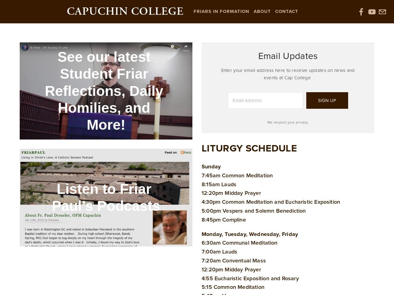 Capuchin College (Saint Francis friary) Catholic Church Mass Schedule and Mass Times