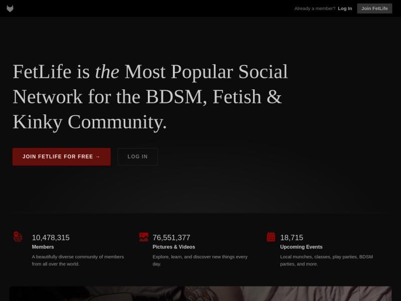 Fetlife.com homepage screenshot