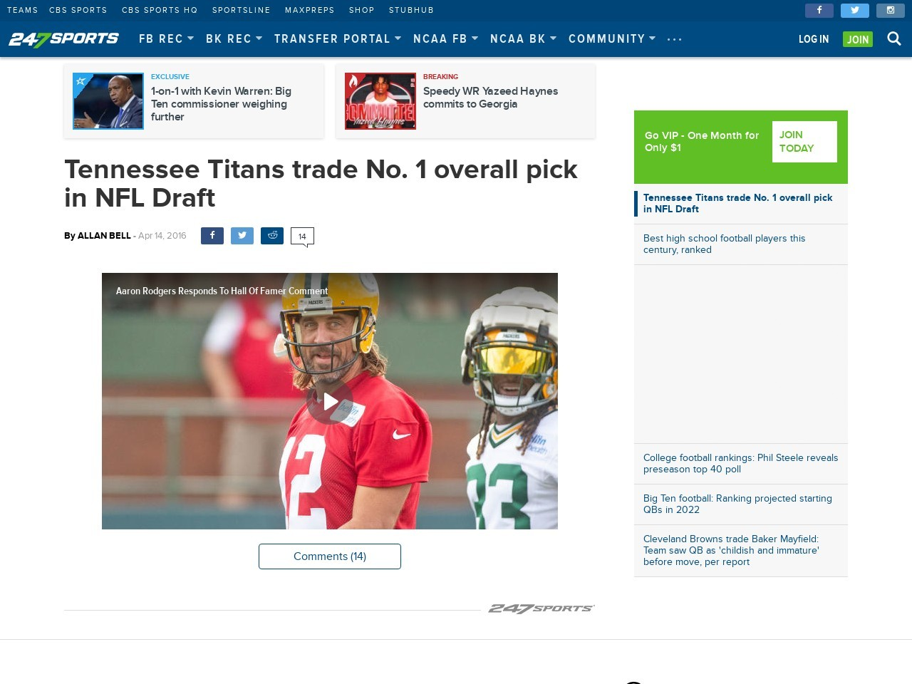 Tennessee Titans trade No. 1 overall pick in NFL Draft