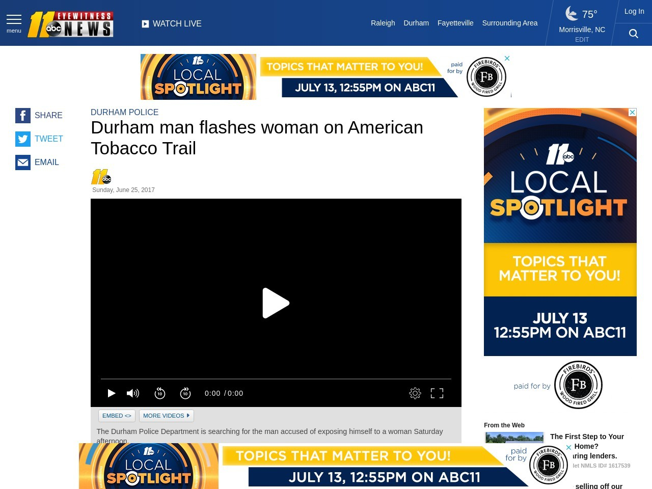 Durham man flashes woman on American Tobacco Trail