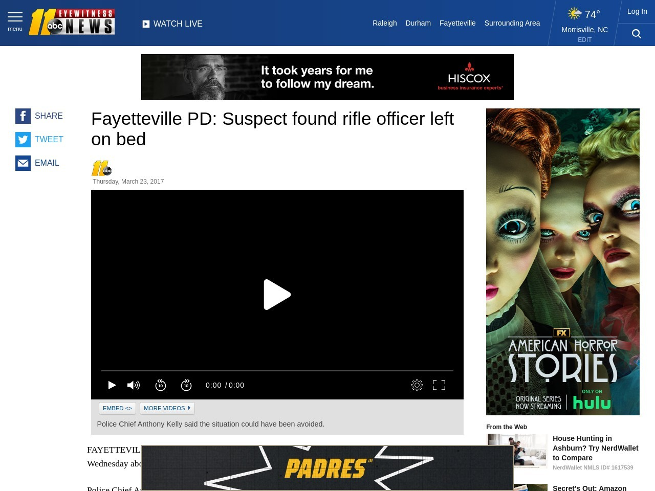 Fayetteville PD: Suspect found rifle officer left on bed