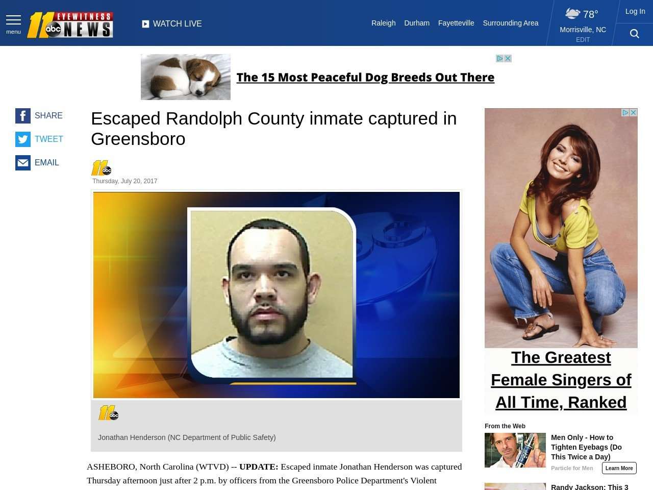 Inmate escapes from Randolph County prison