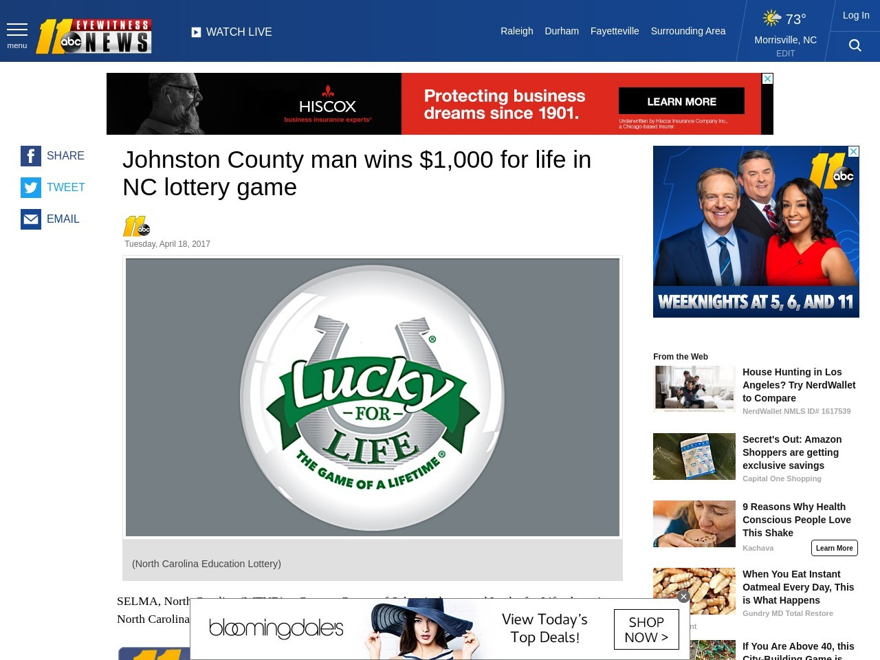 Johnston County man wins $1,000 for life in NC lottery game