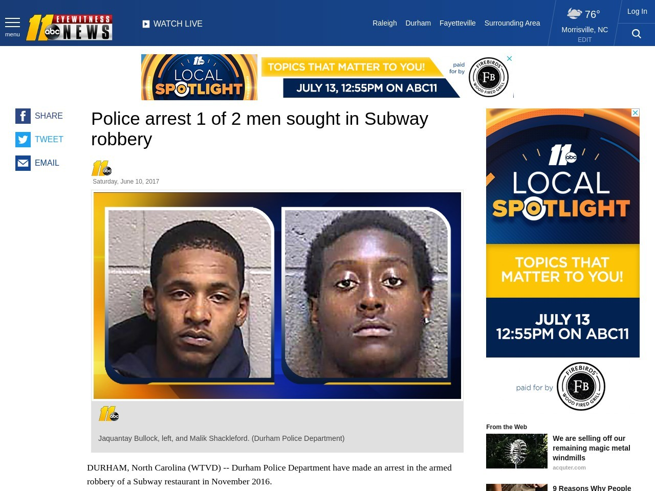 Police arrest 1 of 2 men sought in Subway robbery