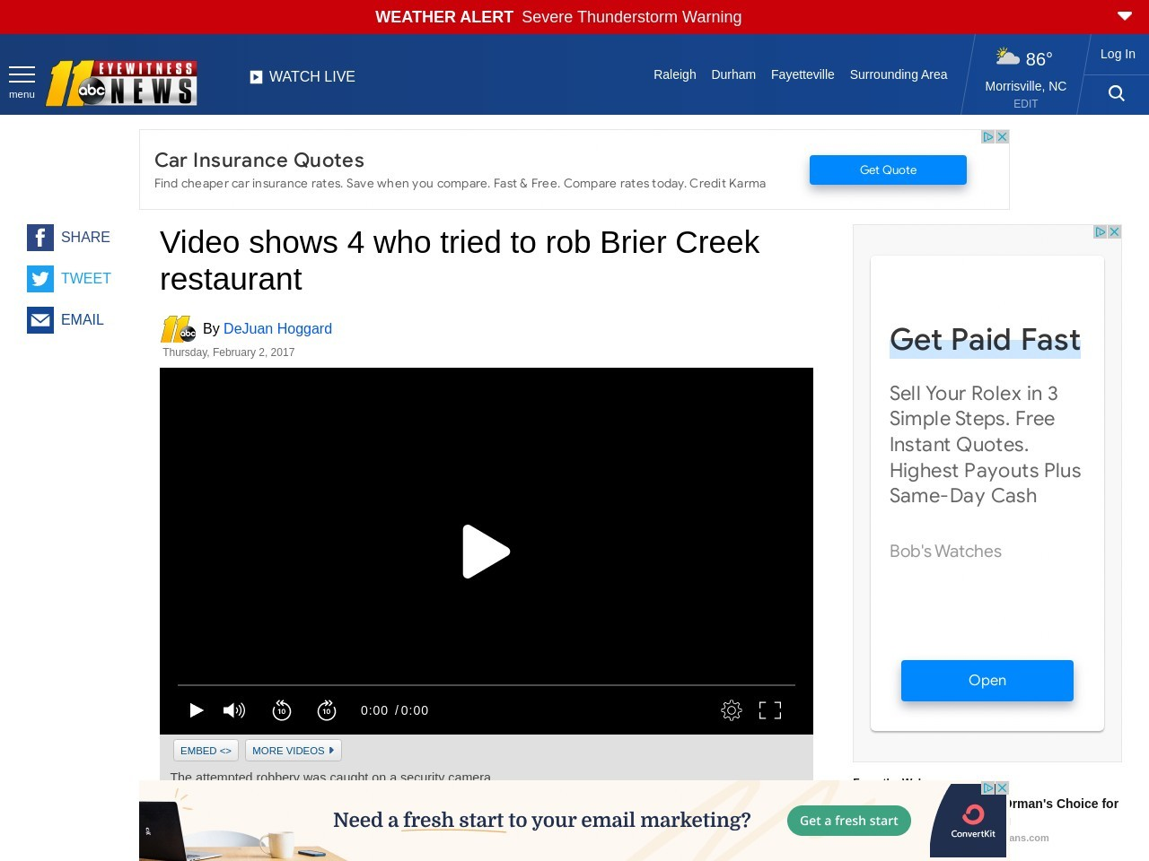 Video shows 4 who tried to rob Brier Creek restaurant
