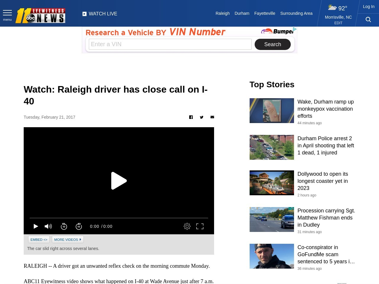 Watch: Raleigh driver has close call on I-40