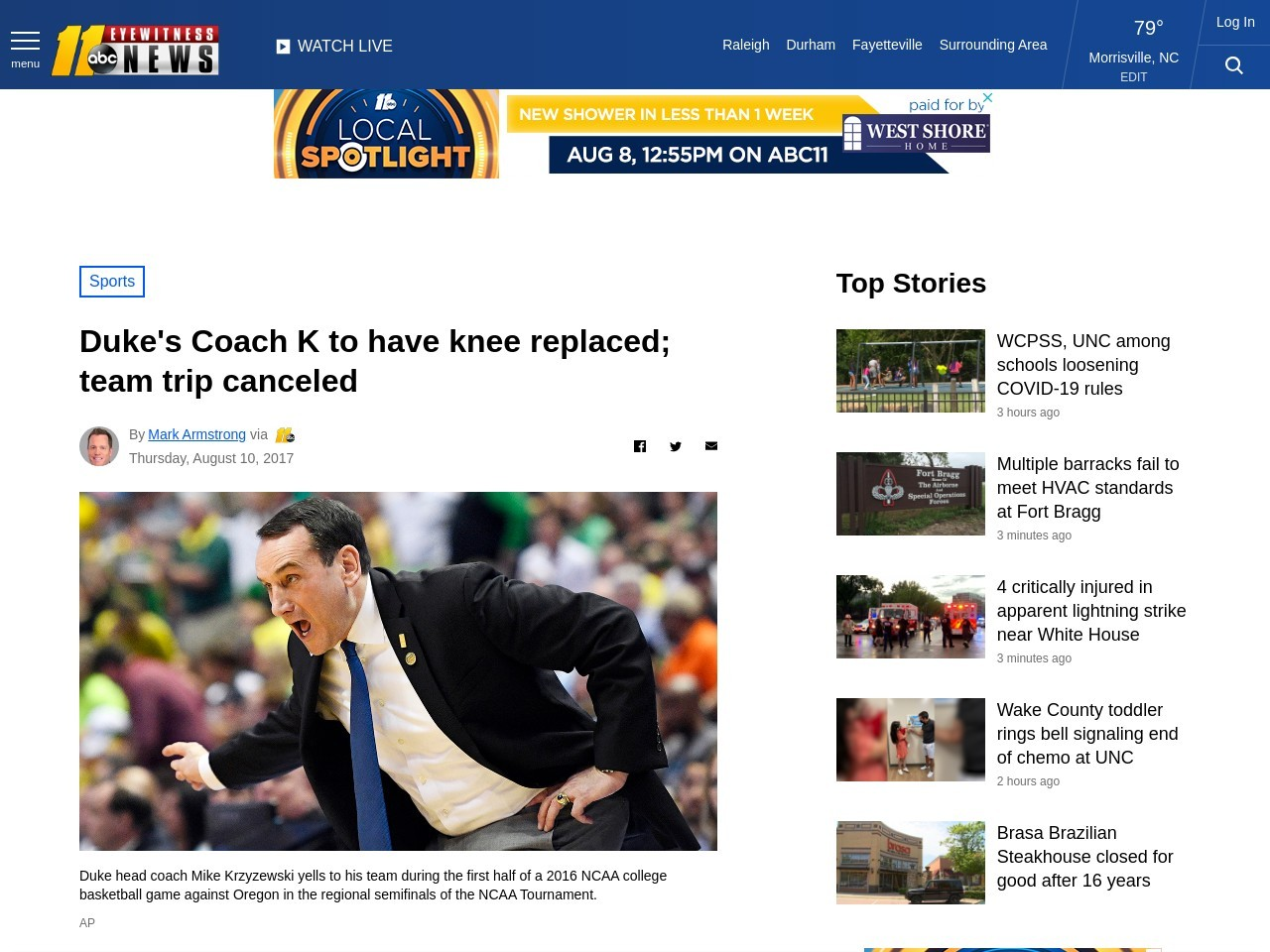 Duke's Coach K to have knee replaced; team trip canceled