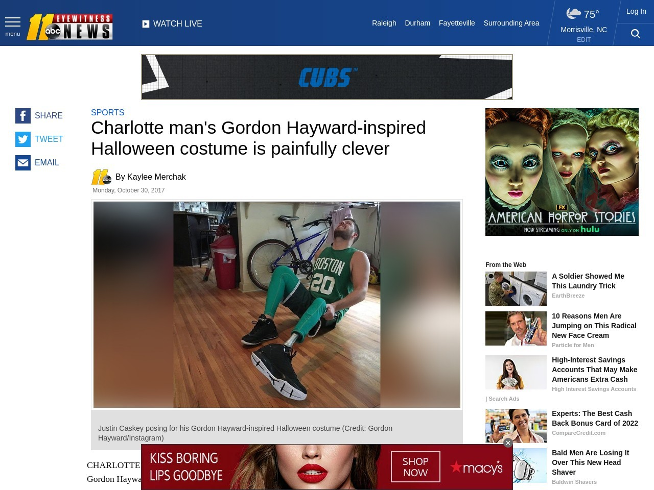 Charlotte man's Gordon Hayward-inspired Halloween costume is painfully clever