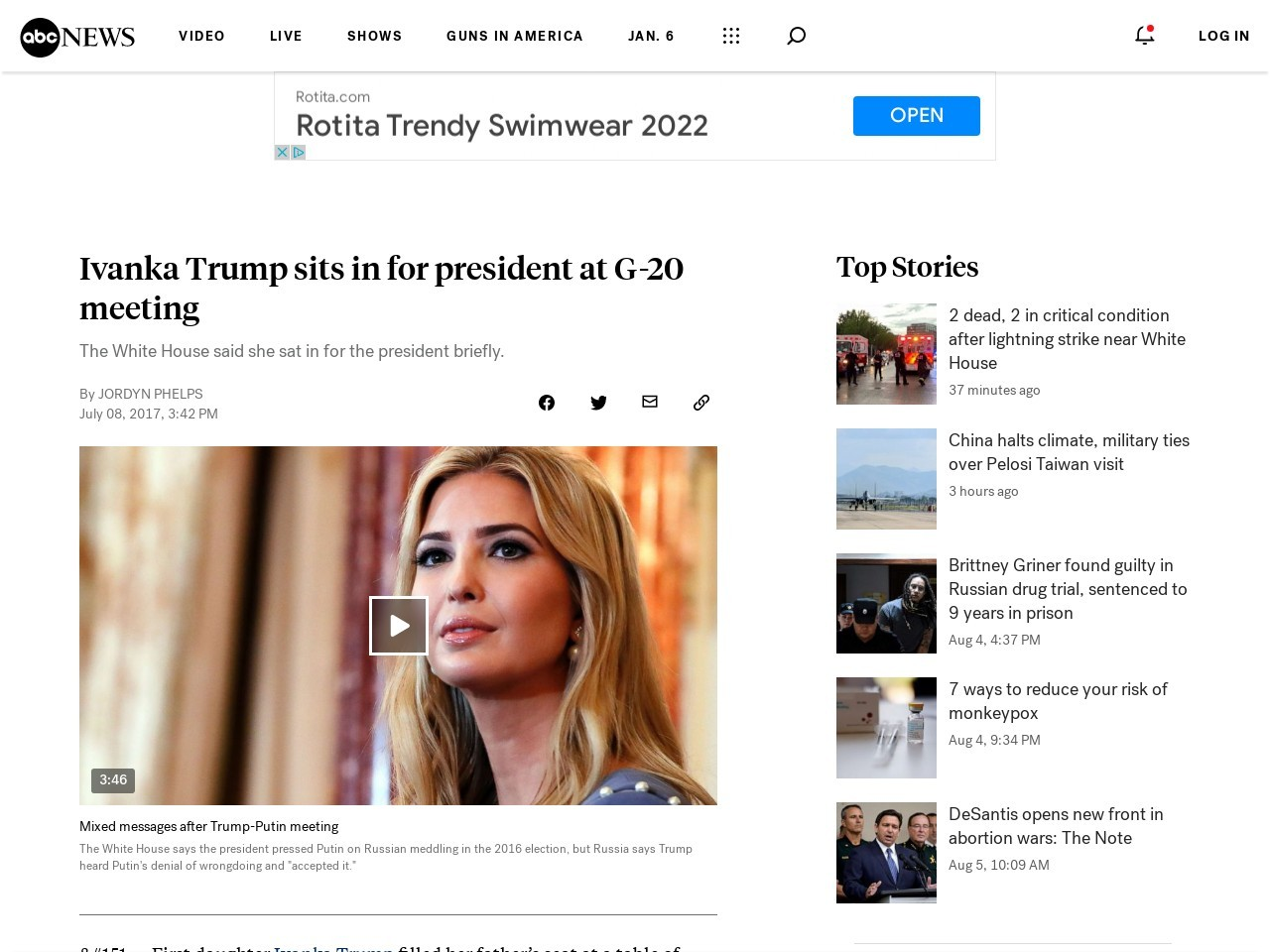 Ivanka Trump sits in for president at G-20 meeting
