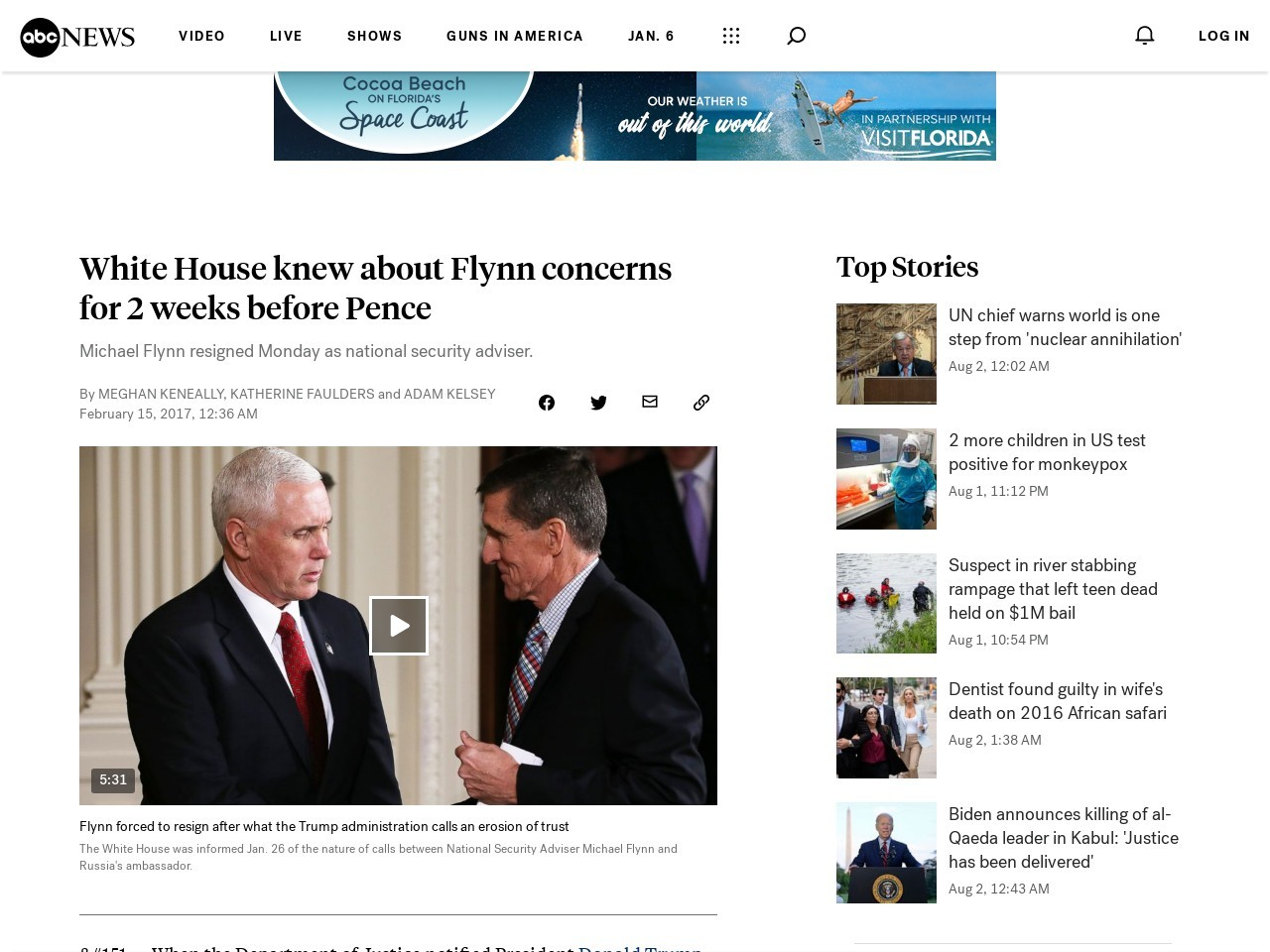 White House knew about Flynn concerns for 2 weeks before Pence