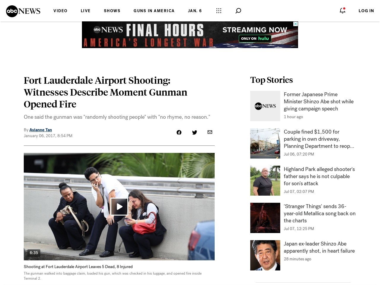 Witnesses Describe Screaming, 'Trail of Blood' After Gunman Opened Fire at Airport