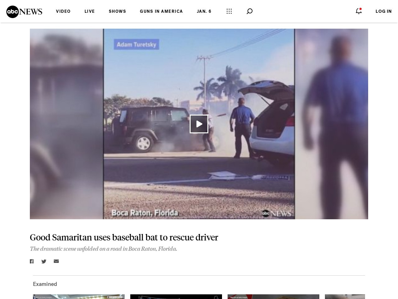 WATCH:  Good Samaritan uses baseball bat to rescue driver