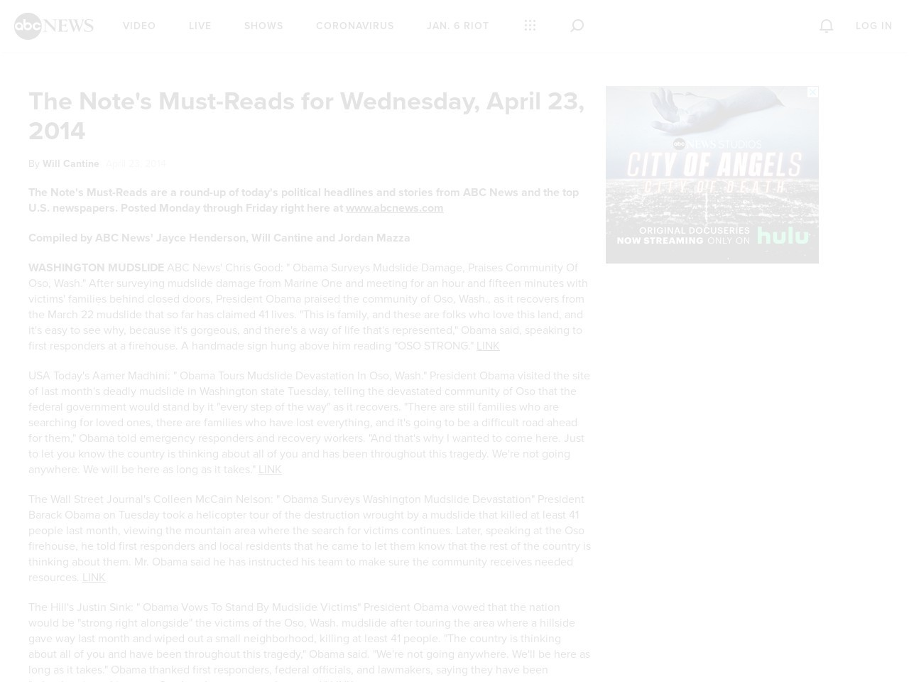 The Note's Must-Reads for Wednesday, April 23, 2014