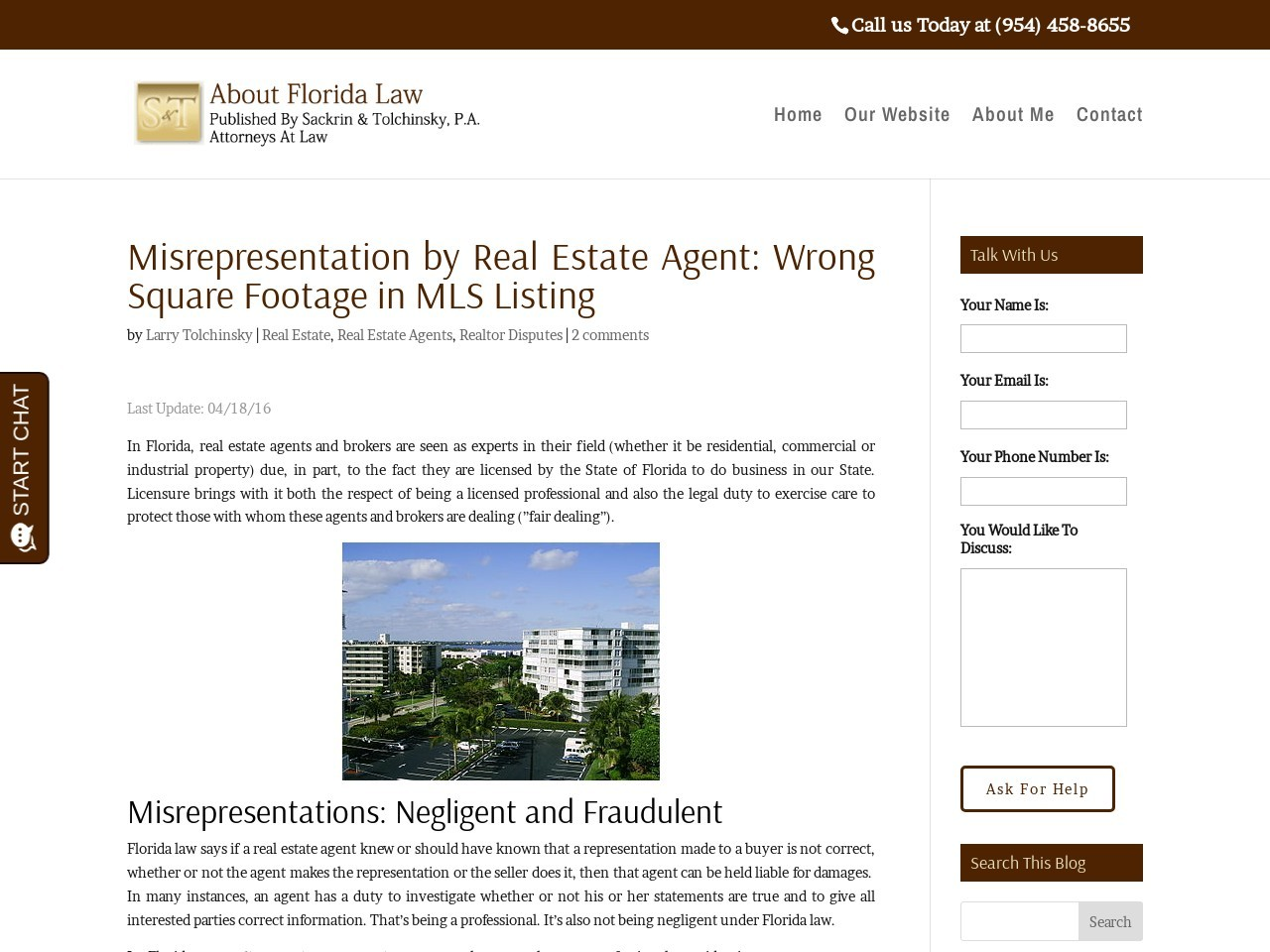 Misrepresentation by Real Estate Agent: Wrong Square …