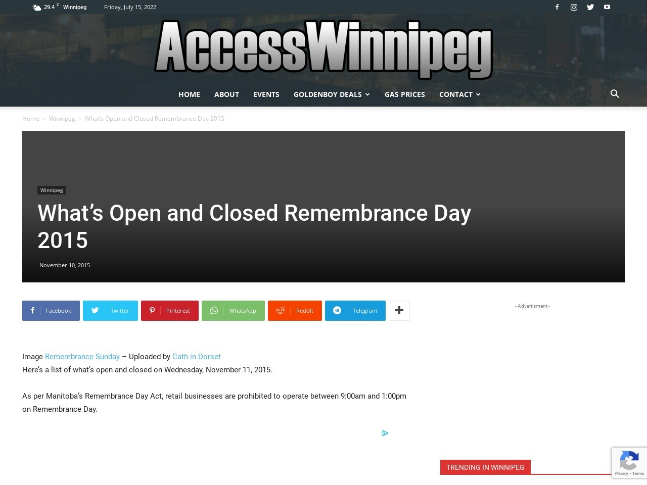 What's Open and Closed Remembrance Day 2015 – Access …