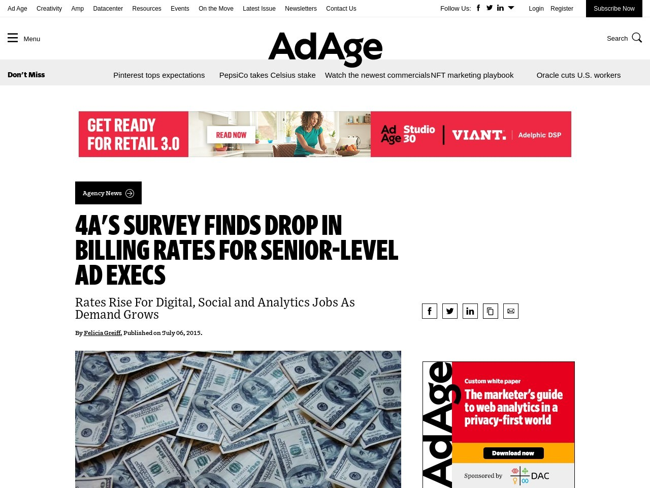 4A's Survey Finds Drop in Billing Rates For Senior-Level Ad Execs