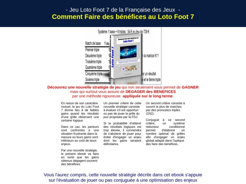 comment faire des benefices au loto foot 7