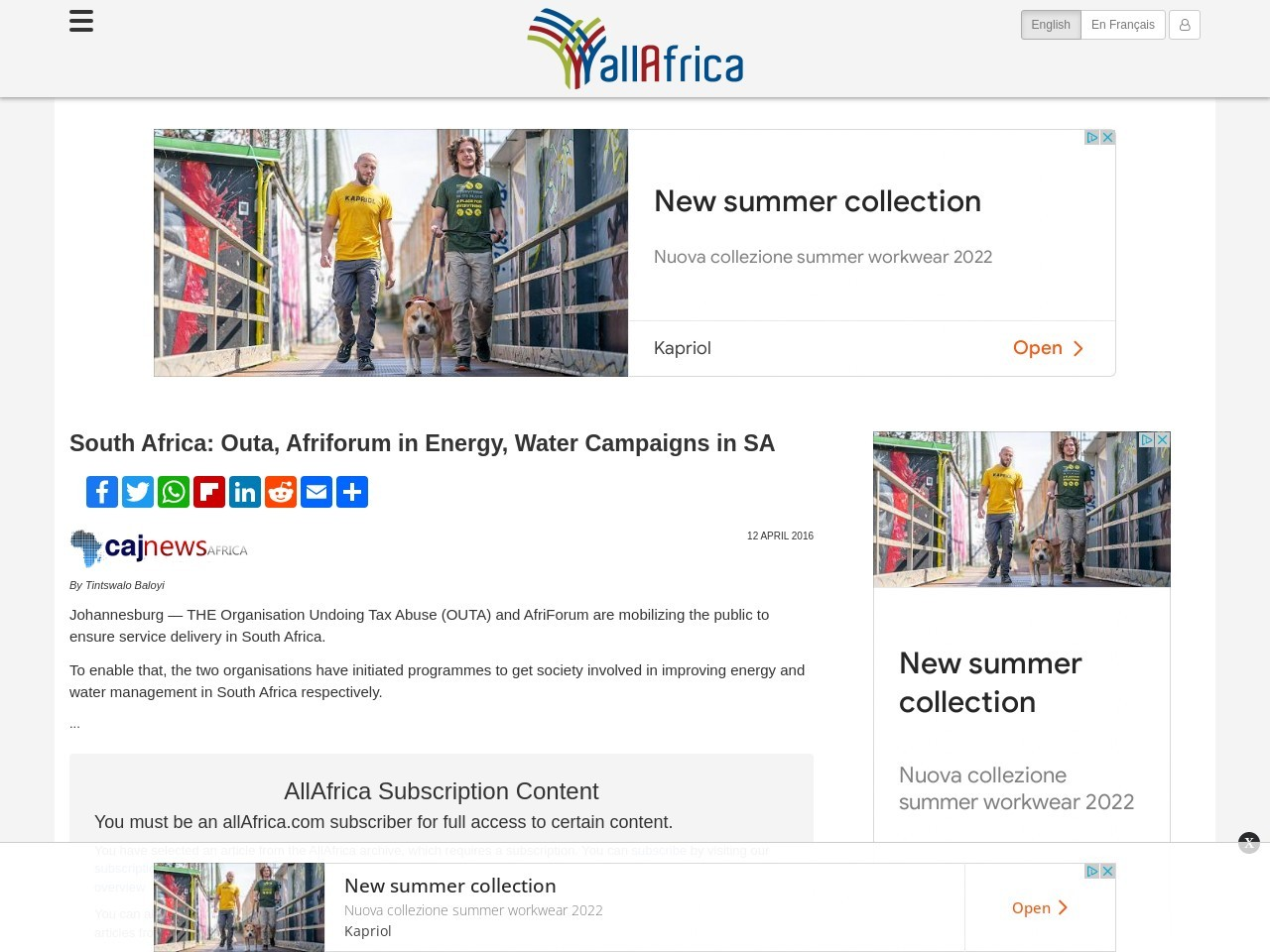 South Africa: Outa, Afriforum in Energy, Water Campaigns in SA