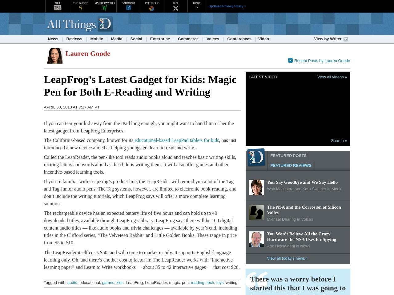LeapFrog's Latest Gadget for Kids: Magic Pen for Both E-Reading …