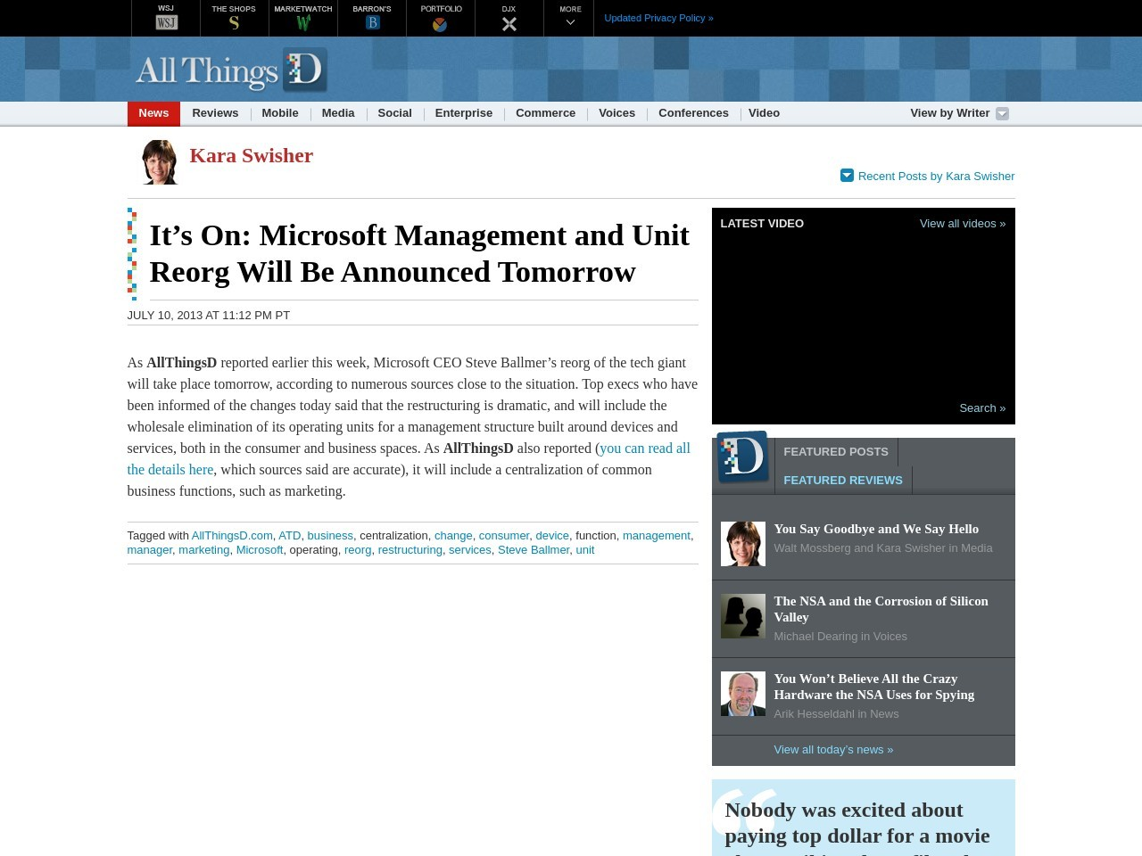 Microsoft Management and Unit Reorg Will Be Announced …