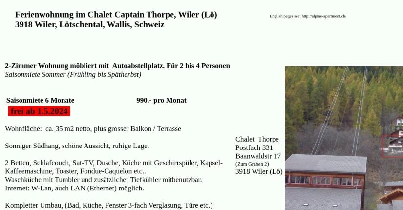 Ferienwohnung in der Schweiz, Wallis, Lätschental, Wiler - 2 Zimmer 1