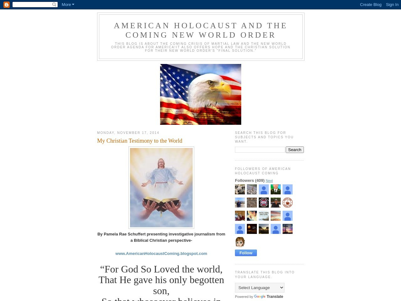 My Christian Testimony to the World – AMERICAN …