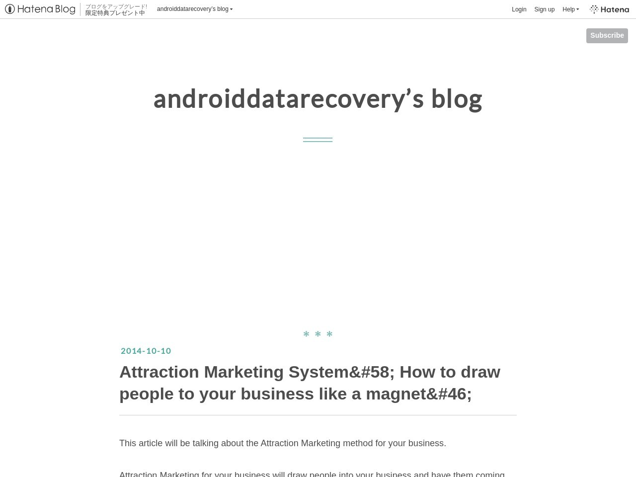 Attraction Marketing System&#58 – androiddatarecovery's blog