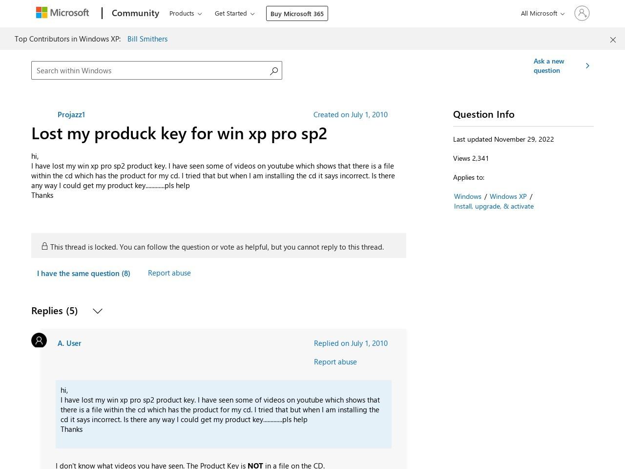 Lost my produck key for win xp pro sp2 - Microsoft Community