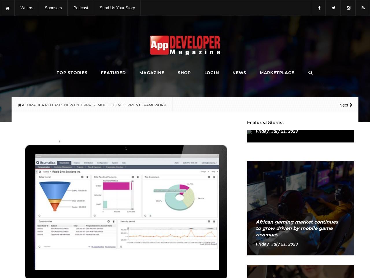 Acumatica Releases New Enterprise Mobile Development Framework