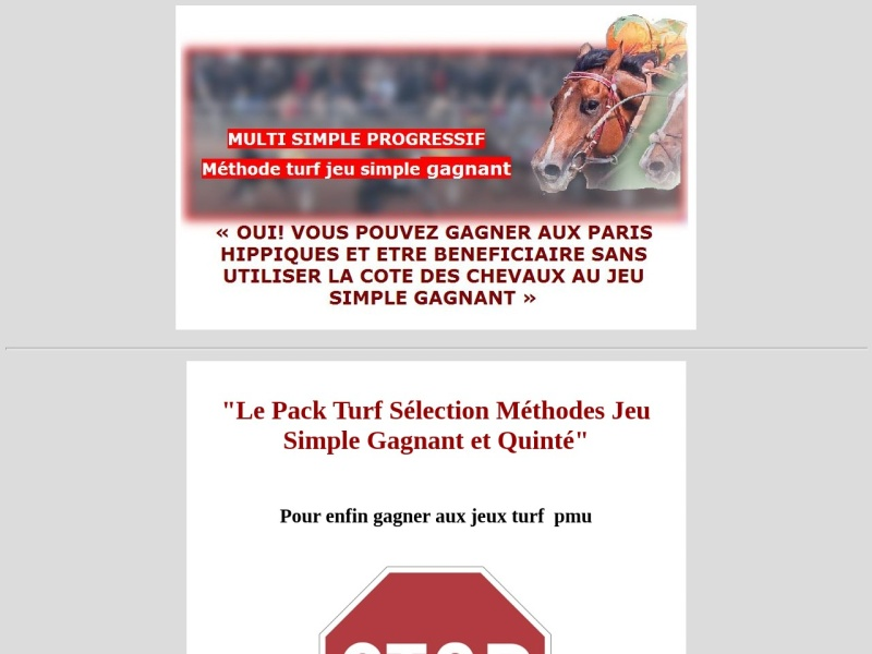 turf, le pack selection  jeux simple gagnant