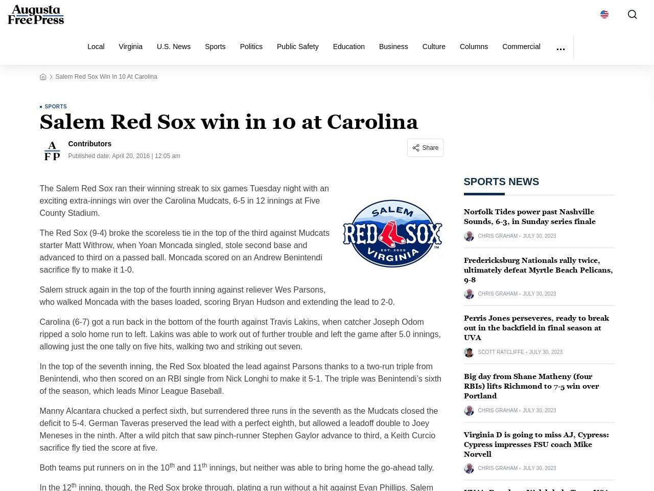 Salem Red Sox win in 10 at Carolina