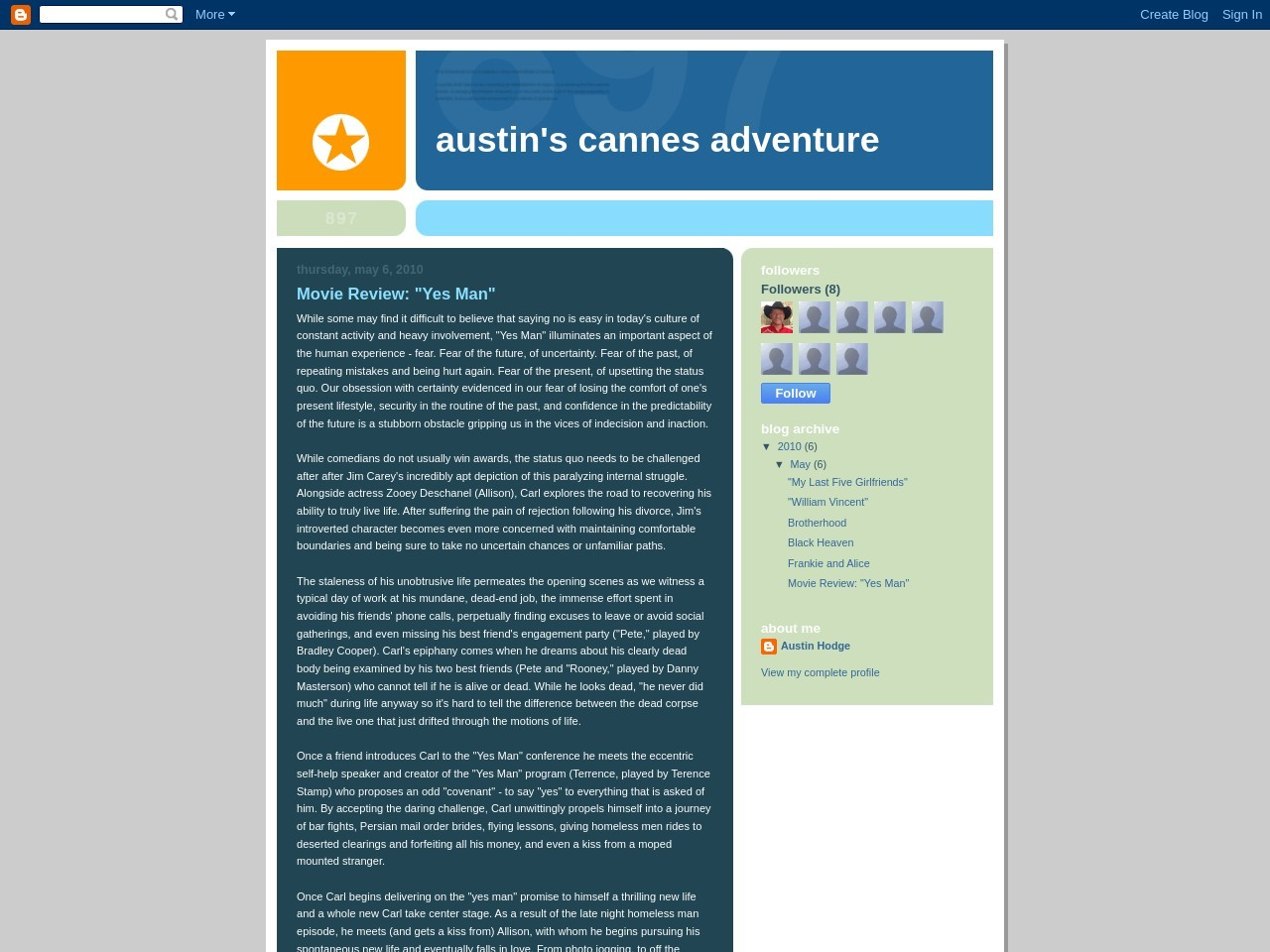 """Austin's Cannes Adventure: Movie Review: """"Yes Man"""""""