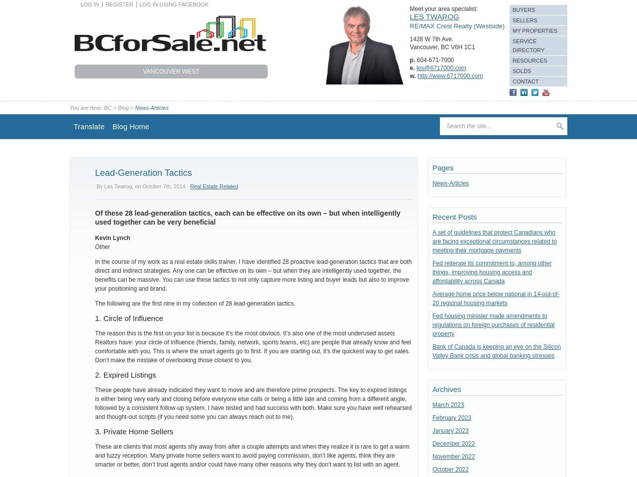 Lead-Generation Tactics – BC Condos – BCCondos.net