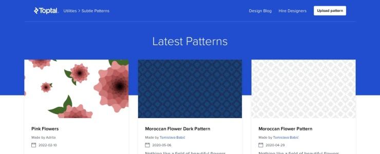 screenshot of Subtle Patterns
