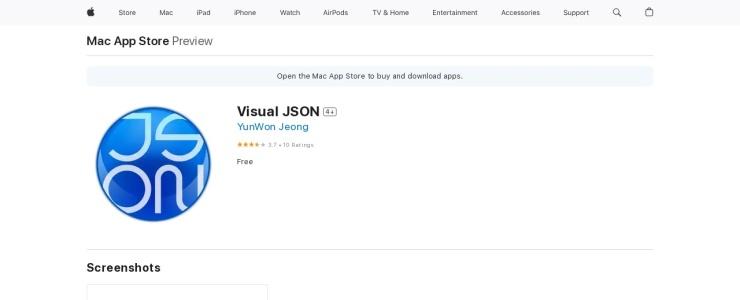 screenshot of Visual JSON