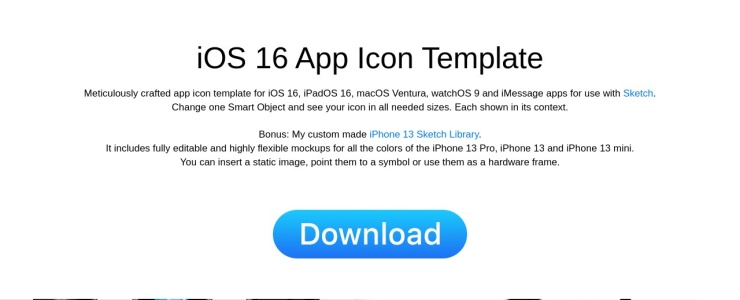screenshot of iOS 8 Icon Template