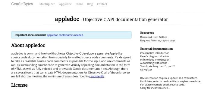 screenshot of appledoc