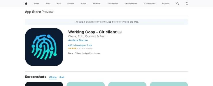 screenshot of Working Copy
