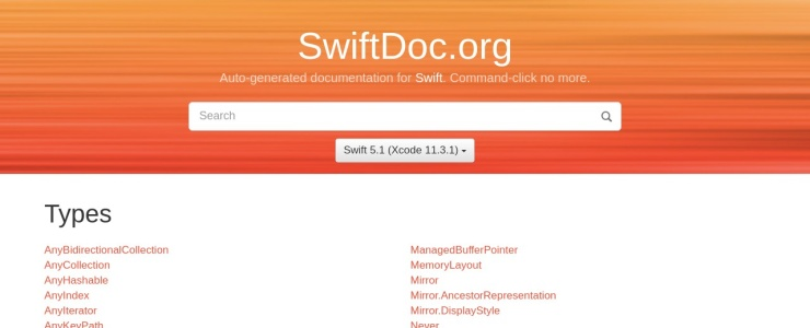 screenshot of SwiftDoc.org