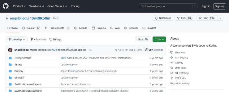screenshot of SwiftKotlin