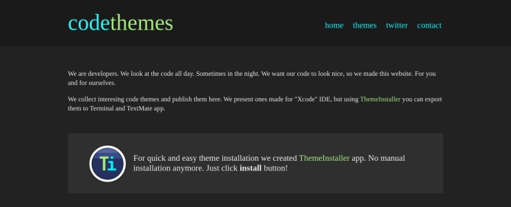 screenshot of codethemes