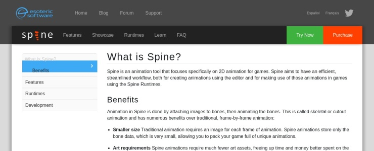 screenshot of Spine