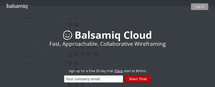 screenshot of Balsamiq Cloud