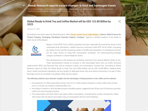 Global Ready to Drink Tea and Coffee Market will be US$ 122.88 Billion by 2025