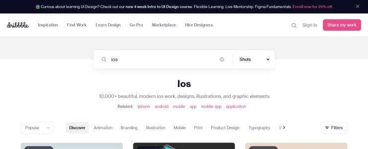 screenshot of Dribbble