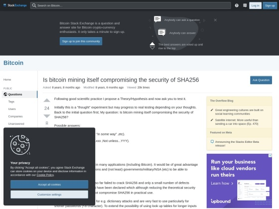 Is bitcoin mining itself compromising the security of SHA256