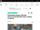 Philadelphia Eagles Officially Announce Rookie Nick Foles as Week 11 Starter